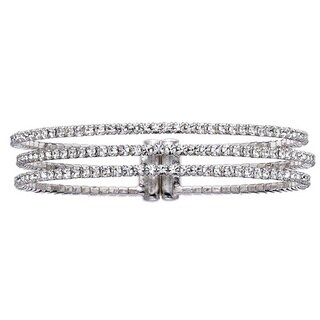 Isla Simone Goldplated or Platinum-Plated Crystal 3-Row Gap Bangle