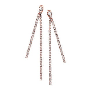 Isla Simone - Two Chain Front/Back Earring with Crystals