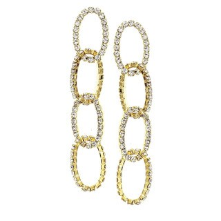 Isla Simone - Four Layer Oval Crystal Earring in Assorted Color
