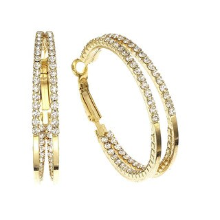 Isla Simone - 40mm Two Row inside out Earring with Crystal (2 options available)