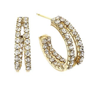 Isla Simone - 20mm Two Row inside out Earring with Crystal