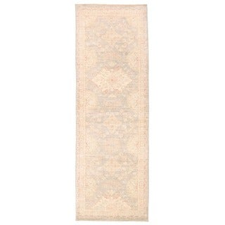 Herat Oriental Afghan Hand-knotted Vegetable Dye Oushak Grey/ Ivory Wool Area Rug (2'8 x 7'9)