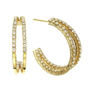 Isla Simone - 30mm Two Row inside out Earring with Crystal