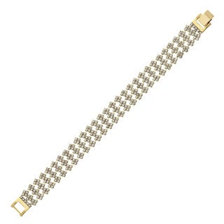 Isla Simone - Triple Row Crystal Square Station Bracelet