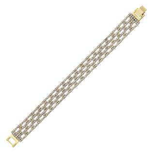 Isla Simone - 14 mm Box Pattern Crystal Bracelet