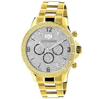 Luxurman Men's 18k Goldplated 1/5ct TDW Diamond Liberty 2705 Watch