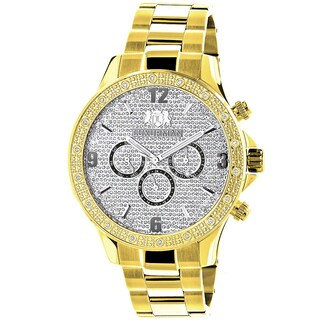 Luxurman Men's Goldplated 1/5Ct TDW Diamond Liberty 2705 Watch