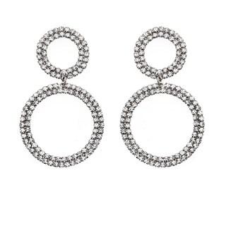 Isla Simone - Bi-level Circle Crystal Earrings