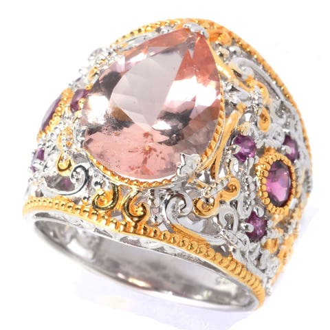 One-of-a-kind Michael Valitutti Morganite and Rhodolite Ring