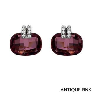 Isla Simone - Rhodium Plated Cushion Cut Earring with Austrian Crystal