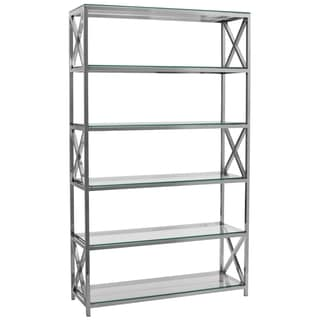 Safavieh Couture High Line Collection Quinton Stainless Steel Storage Bookshelf