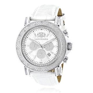 Luxurman Men's Diamond 1/4ct TDW White MOP Escalade 2709 Oversized Watch