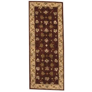 Herat Oriental Indo Hand-tufted Mahal Purple/ Ivory Wool Runner (2'4 x 5'10)