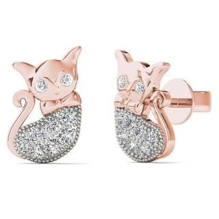 AALILLY 10k Rose Gold Diamond Accent Cat Stud Earrings