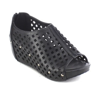 Beston AB19 Women's Slip-on Studded Perforated Platform Wedges