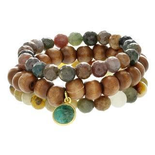 Fox and Baubles Agate, Jasper, and Wood with Emerald Stretch Bracelets (Set of 3)