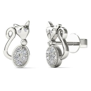 AALILLY 10k White Gold Diamond Accent Cute Cat Stud Earrings