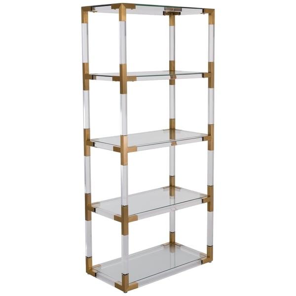 safavieh couture high line collection hayley bronze brass acrylic storage bookshelf - Acrylic Bookshelves