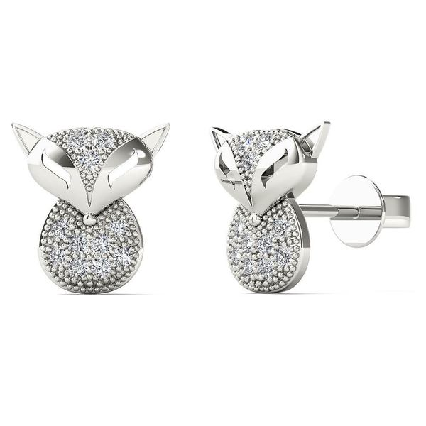 0e60bc9d2 Shop AALILLY 10k White Gold Diamond Accent Owl Stud Earrings - On ...