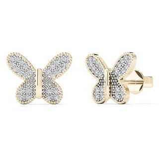 10k Yellow Gold 1/5ct TDW Diamond Butterfly Stud Earrings