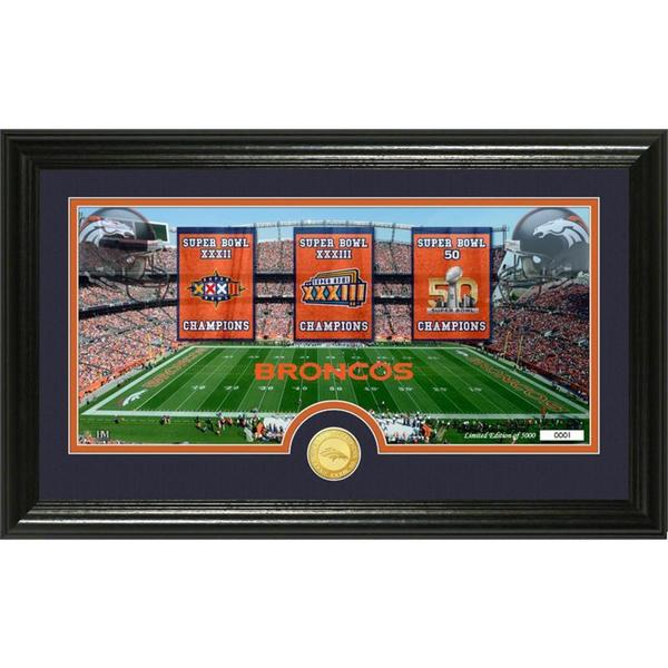 """Denver Broncos Super Bowl """"Traditions"""" Bronze Coin Panoramic Photo Mint"""