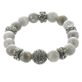 Fox and Baubles Labradorite and Crystal Beads Stretch Bracelet