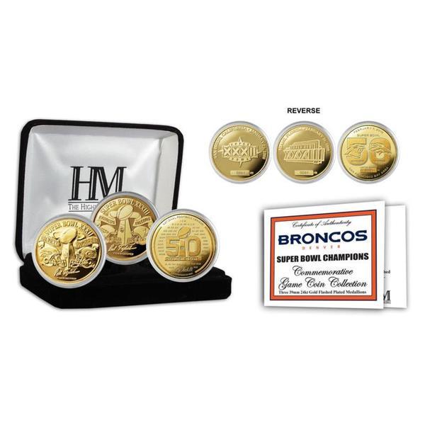 Denver Broncos 3-Time Super Bowl Champions Gold Coin Set