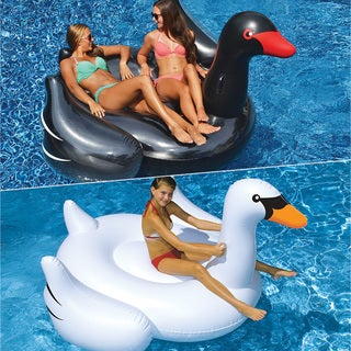 Swimline Giant Black and White Swan 2-Pack for Swimming Pools