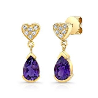 14k Yellow Gold Amethyst 1/5ct TDW Diamond Heart Drop Earrings (H-I, VS1-VS2)