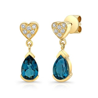 14k Yellow Gold Blue Topaz 1/6ct TDW Diamond Heart Drop Earrings (H-I, VS1-VS2)