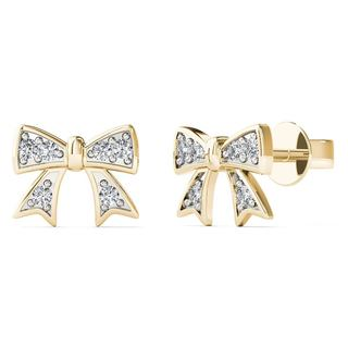 AALILLY 10k Yellow Gold Diamond Accent Bow Stud Earrings