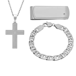 Stainless Steel Men's Diamond Accent Cross, Money Clip, and Bracelet Boxed Set