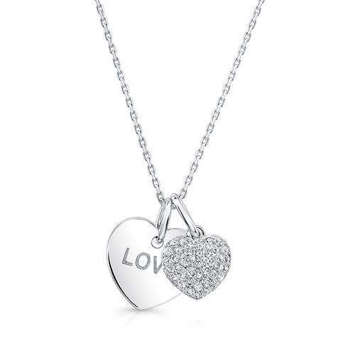 14k White Gold 1/5ct TDW Diamond Heart Necklace