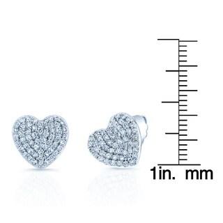 14k White Gold 7/8ct TDW Diamond Heart Earrings