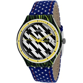 Swatch Women's YGS7016 Tiger Babs Round Blue Fabric Over Leather Strap Watch
