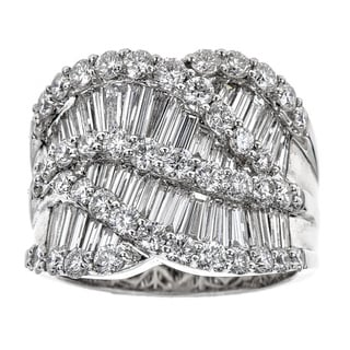 18k White Gold 3 7/8ct TDW Diamond Baguette Round Ring