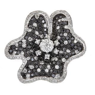 18k White Gold 3 1/2ct TDW Black and White Diamond Flower Ring