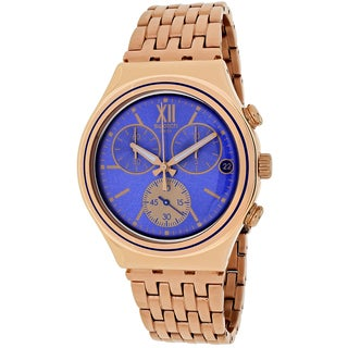 Swatch Men's YCG409G Blue Win Round Rose Gold-tone Stainless Steel Bracelet Watch