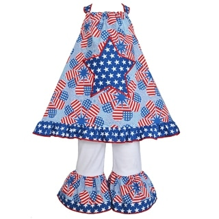 Ann Loren Girl's Boutique Patriotic Heart Flags Halter and Capri Legging Outfit