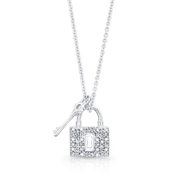 silver deals sterling lock and key heart pendant diamond amazon