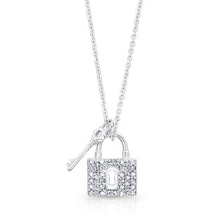 14K White Gold 1/10ct TDW Diamond Lock and Key Pendant (H-I, VS1-VS2)