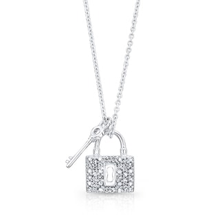 14K White Gold 1/10ct TDW Diamond Lock and Key Pendant (H-I, VS1-VS2)