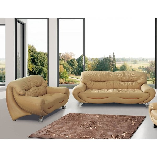 Luca Home Beige Sofa And Loveseat Combo