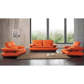 Luca Home Orange Sofa, Loveseat and Chair Set