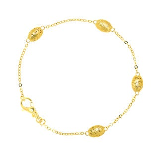 14k Yellow Gold Station Bracelet, 7 1/4 Inches