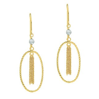 14 Karat Yellow Gold Polish Finished Diamond Fringe Dangle Earrings With Fishhook Backs, 1 1/2 Inche