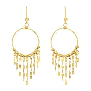 14 Karat Yellow Gold Polish Finished Circle Chandelier Earrings With Fishhook Backs, 1 1/2 Inches - Orange