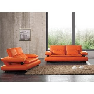 Luca Home Orange Sofa and Loveseat Combo