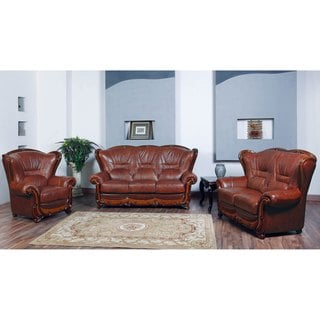 Luca Home Brown Sofa, Loveseat and Chair Set