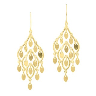 14 Karat Yellow Gold Polish Finished Leaf Chandelier Dangle Earrings With Fishhook Backs, 1 1/2 Inch